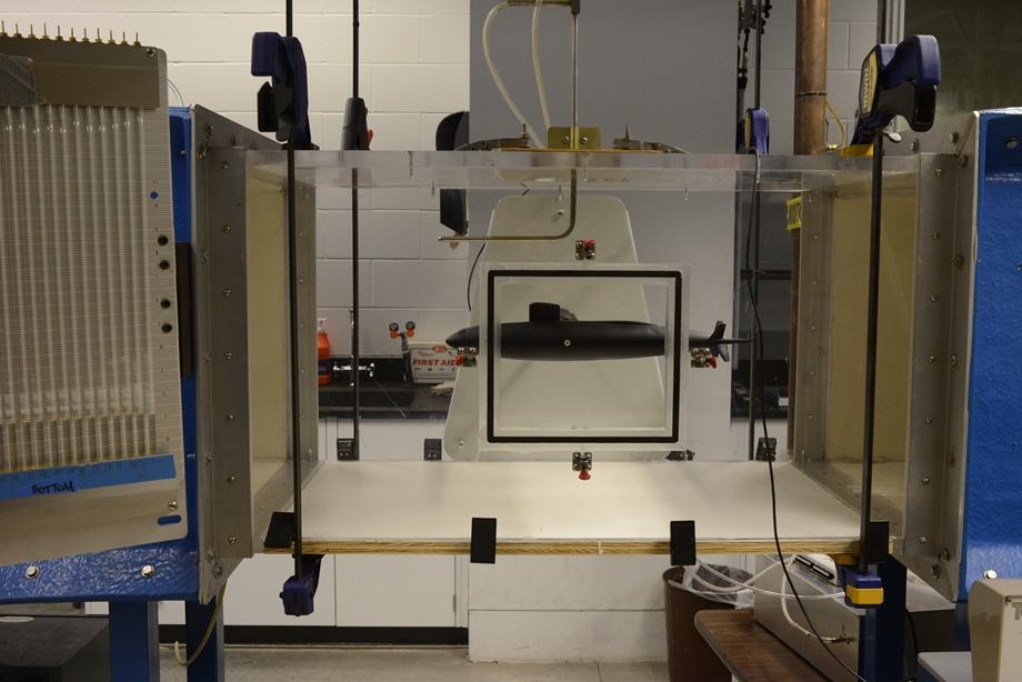 Model USS Albacore in the student wind tunnel