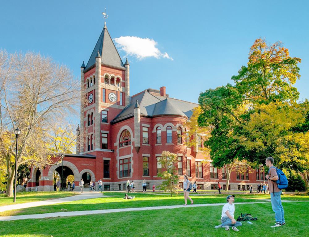 Students on the lawn at Thompson Hall