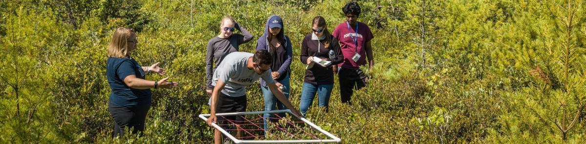 Professor Varner and Students working in field