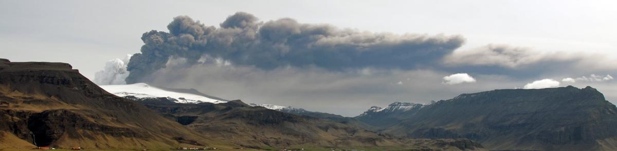 mountain landscape with smoke