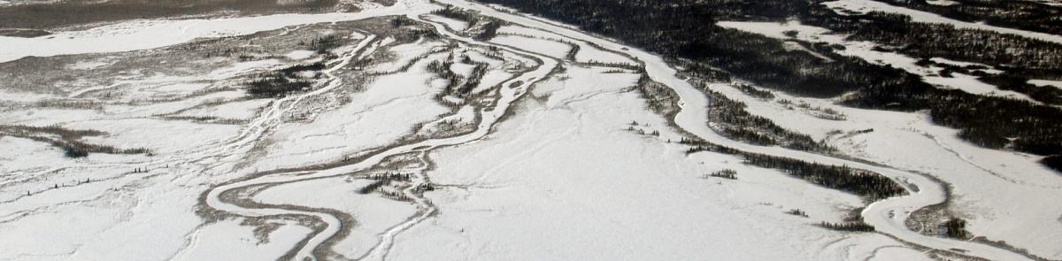 frozen river and snow landscape