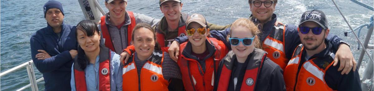 Ocean engineering students on boat