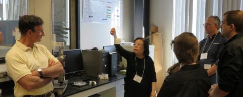 Professor Yaning Li demonstrating 3D printed samples