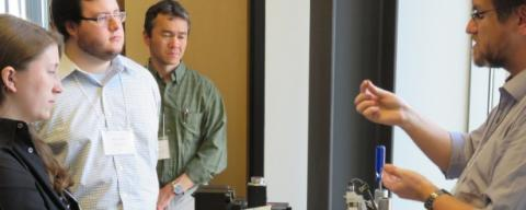 Professor Yannis Korkolis demonstrating the Micro Forming Machine
