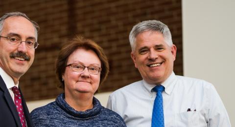 Toni with Dean Wayne Jones (left) and Associate Dean Chuck Zercher (right)