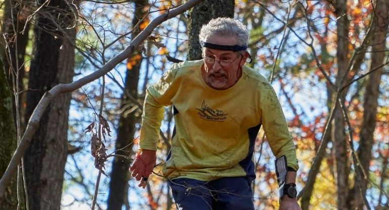 Ernst Linder of Durham, shown competing at the Blue Hills traverse orienteering competition, circa 2017.