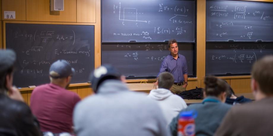 professor teaching math class