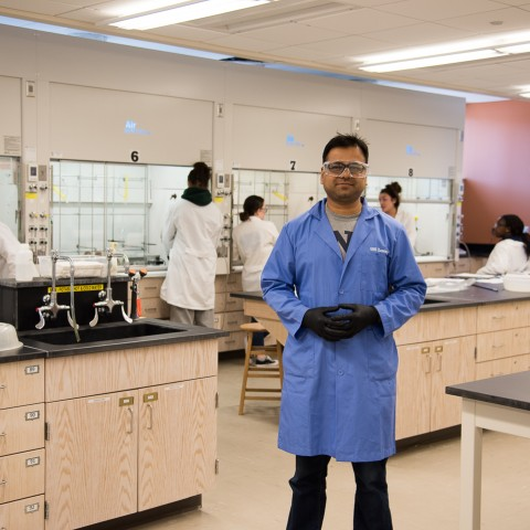 Faruk as a TA in the lab