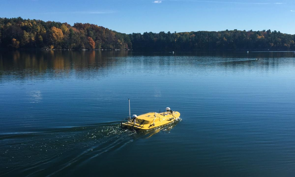 Autonomous surface vehicle testing at Mendums Pond.